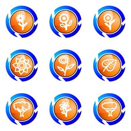 Set of 9 glossy web icons (set 18). Isolated button in various color. Stock Vector - 16682371