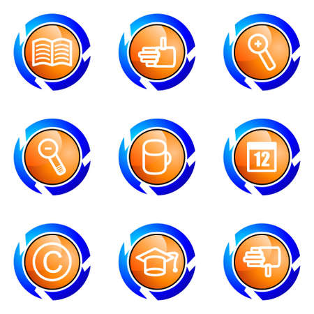 Set of 9 glossy web icons (set 20). Isolated button in various color. Stock Vector - 16682316