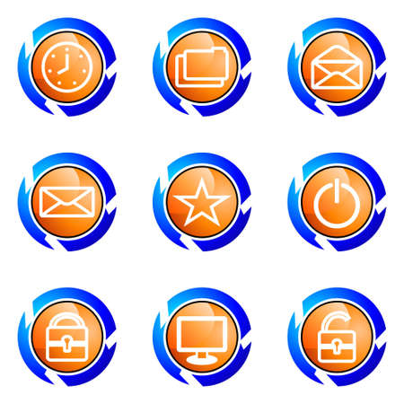 Set of 9 glossy web icons (set 21). Isolated button in various color. Stock Vector - 16682267