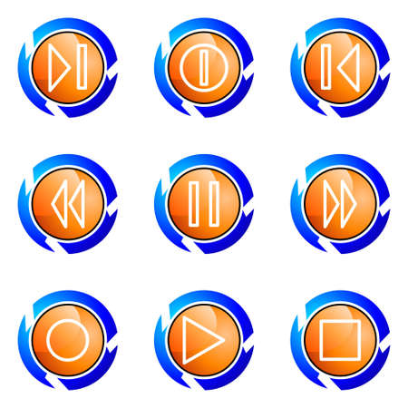 Set of 9 glossy web icons (set 23). Isolated button in various color. Vector