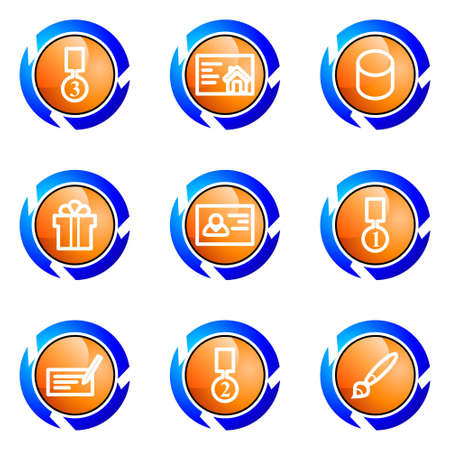 Set of 9 glossy web icons (set 25). Isolated button in various color. Stock Vector - 16682273