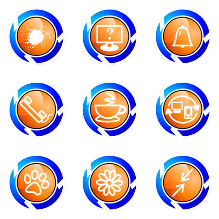 icq: Set of 9 glossy web icons (set 26). Isolated button in various color.