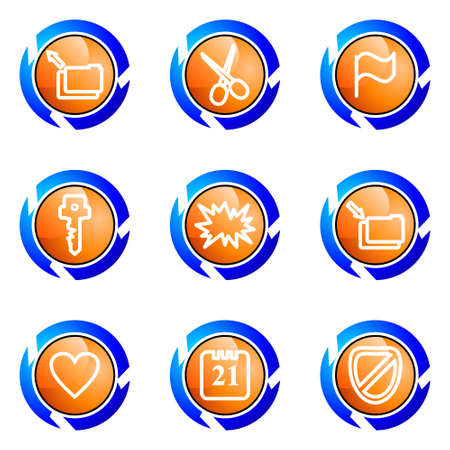 Set of 9 glossy web icons (set 27). Isolated button in various color. Stock Vector - 16681992
