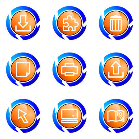 Set of 9 glossy web icons (set 28). Isolated button in various color. Stock Vector - 16682278