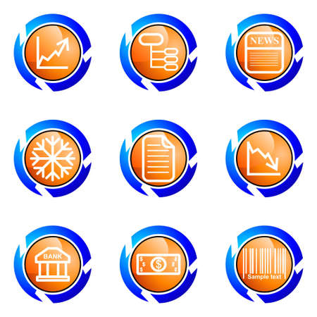 comerce: Set of 9 glossy web icons (set 29). Isolated button in various color.
