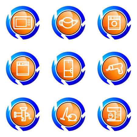 Set of 9 glossy web icons (set 32). Isolated button in various color. Stock Vector - 16682333