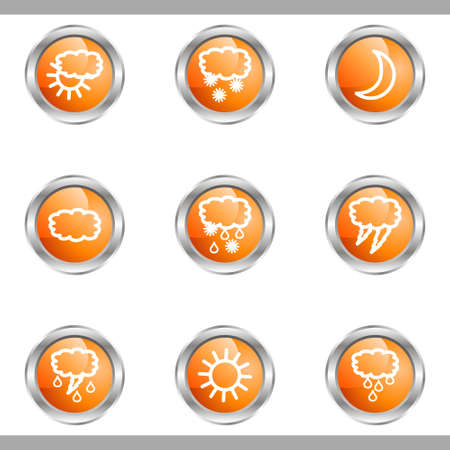 Set of 9 glossy web icons (set 4). Metallic circle. Stock Vector - 16682369