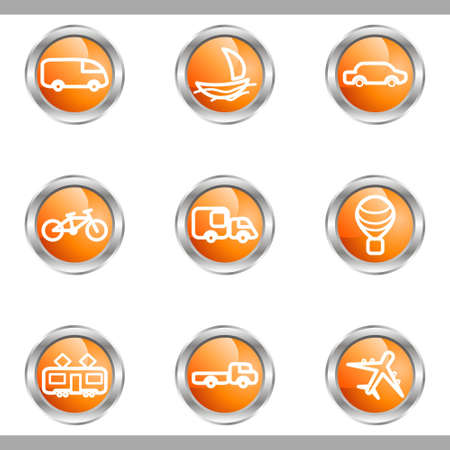 Set of 9 glossy web icons (set 5). Metallic circle. Vector