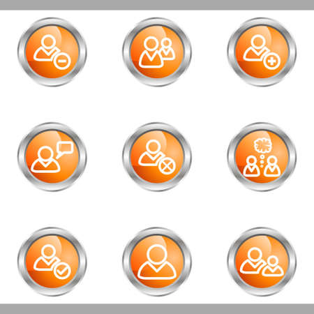 Set of 9 glossy web icons (set 7). Metallic circle. Stock Vector - 16682320