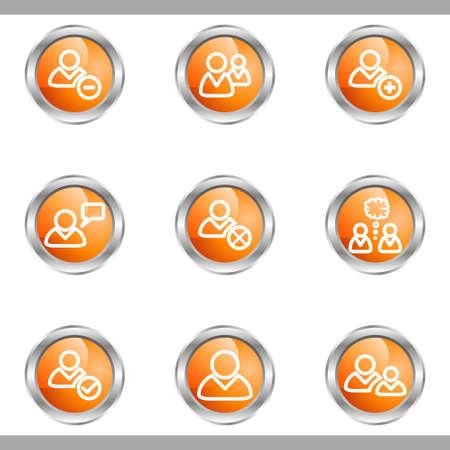Set of 9 glossy web icons (set 7). Metallic circle.