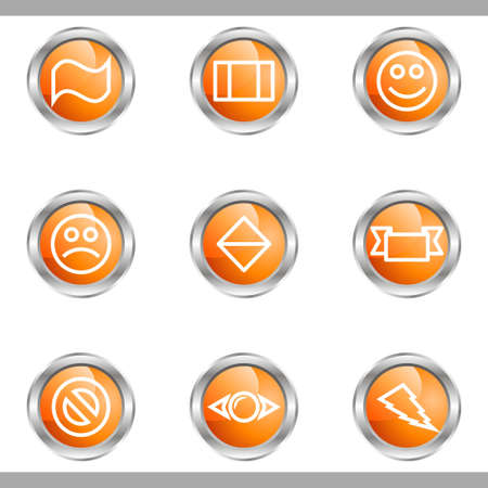 Set of 9 glossy web icons (set 8). Metallic circle. Stock Vector - 16682260