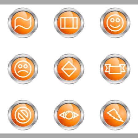 Set of 9 glossy web icons (set 8). Metallic circle. Stock Vector - 16682260
