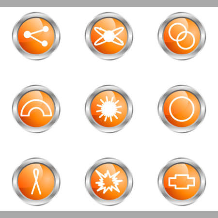 Set of 9 glossy web icons (set 10). Metallic circle. Stock Vector - 16682290