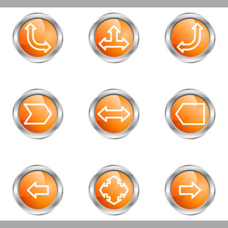 Set of 9 glossy web icons (set 12). Metallic circle.