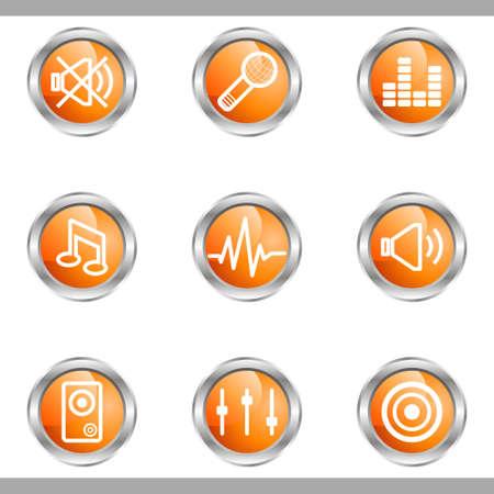 Set of 9 glossy web icons (set 15). Metallic circle.