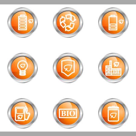 16 9: Set of 9 glossy web icons (set 16). Metallic circle.