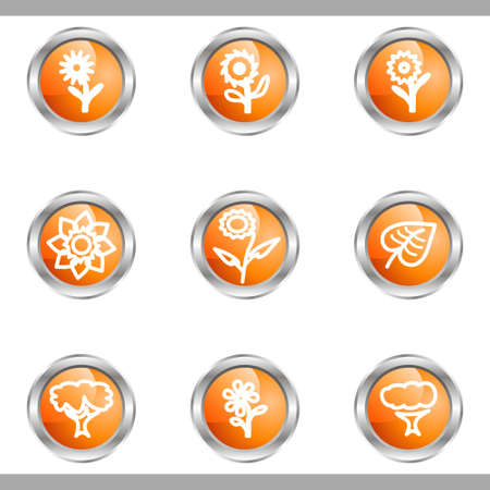 Set of 9 glossy web icons (set 18). Metallic circle.