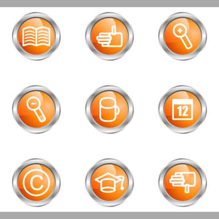 Set of 9 glossy web icons (set 20). Metallic circle. Stock Vector - 16682328