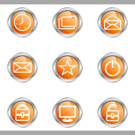 Set of 9 glossy web icons (set 21). Metallic circle. Stock Vector - 16682300
