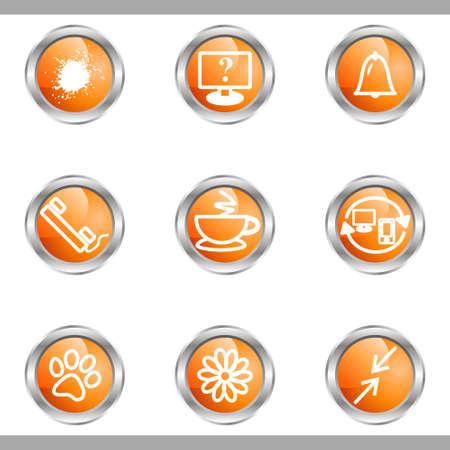 icq: Set of 9 glossy web icons (set 26). Metallic circle.