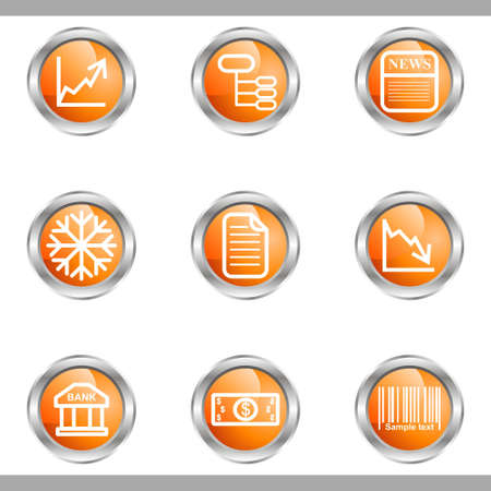 comerce: Set of 9 glossy web icons (set 29). Metallic circle. Illustration