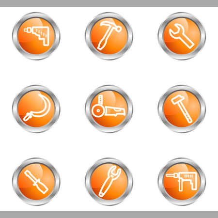 Set of 9 glossy web icons (set 31). Metallic circle. Vector