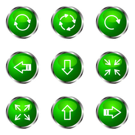 Set of 9 glossy web icons (set 2). Green color. Stock Vector - 16710714