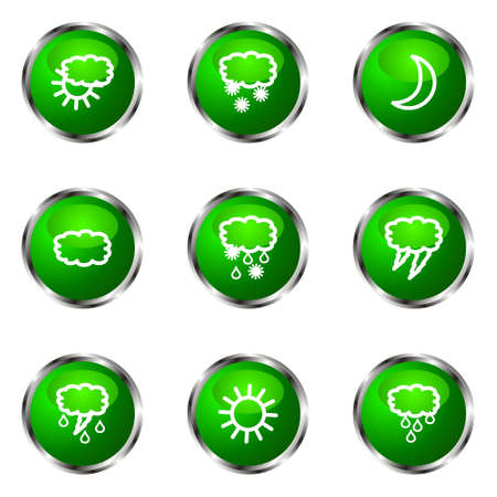 Set of 9 glossy web icons (set 4). Green color. Stock Vector - 16710794