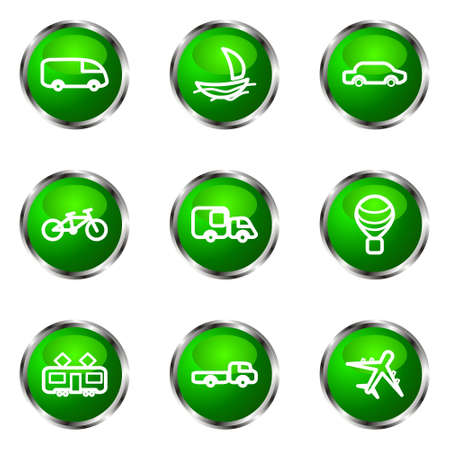Set of 9 glossy web icons (set 5). Green color. Vector