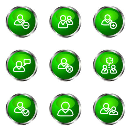 Set of 9 glossy web icons (set 7). Green color. Stock Vector - 16710712