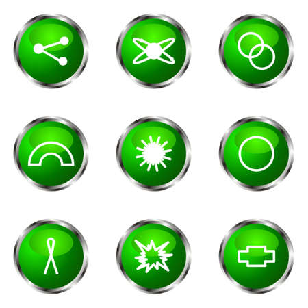 Set of 9 glossy web icons (set 10). Green color. Stock Vector - 16710719