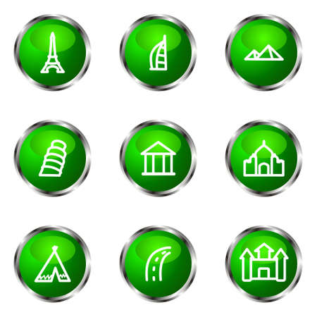 Set of 9 glossy web icons (set 11). Green color.