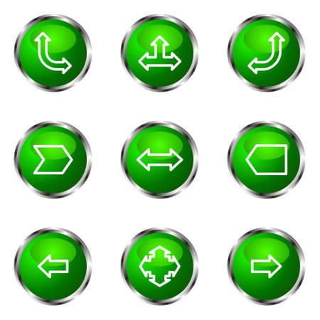Set of 9 glossy web icons (set 12). Green color. Stock Vector - 16710700