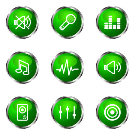 Set of 9 glossy web icons (set 15). Green color.