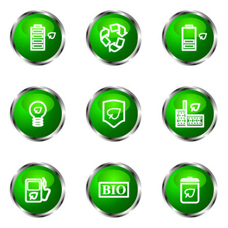16 9: Set of 9 glossy web icons (set 16). Green color.