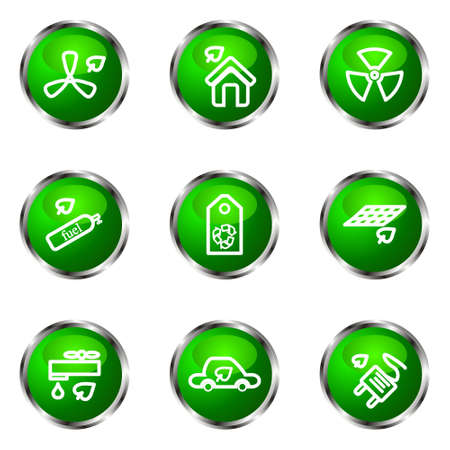 Set of 9 glossy web icons (set 17). Green color. Vector