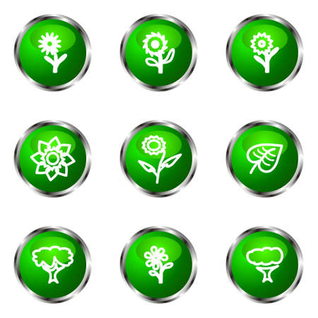 Set of 9 glossy web icons (set 18). Green color. Stock Vector - 16710798