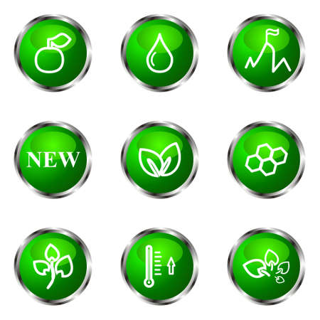 Set of 9 glossy web icons (set 19). Green color. Stock Vector - 16710747