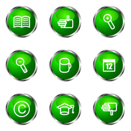 Set of 9 glossy web icons (set 20). Green color. Stock Vector - 16710324