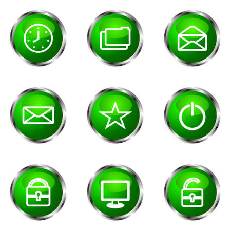 Set of 9 glossy web icons (set 21). Green color. Stock Vector - 16710724