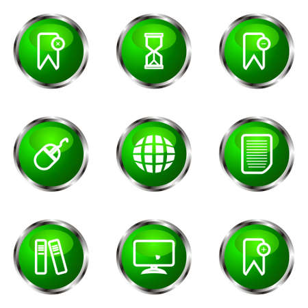 Set of 9 glossy web icons (set 22). Green color. Illustration
