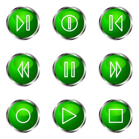 Set of 9 glossy web icons (set 23). Green color. Stock Vector - 16710697
