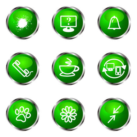 icq: Set of 9 glossy web icons (set 26). Green color.