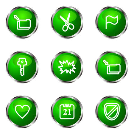 Set of 9 glossy web icons (set 27). Green color.
