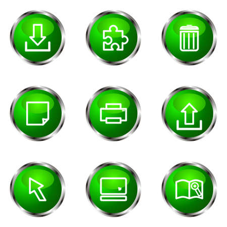 Set of 9 glossy web icons (set 28). Green color. Stock Vector - 16710745