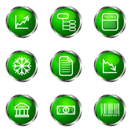 comerce: Set of 9 glossy web icons (set 29). Green color.