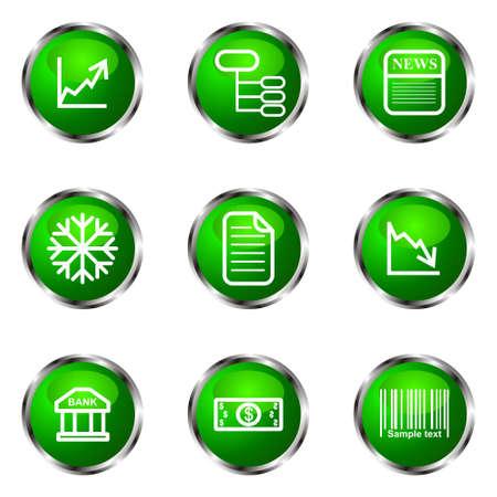 comerce: Set of 9 glossy web icons (set 29). Green color.