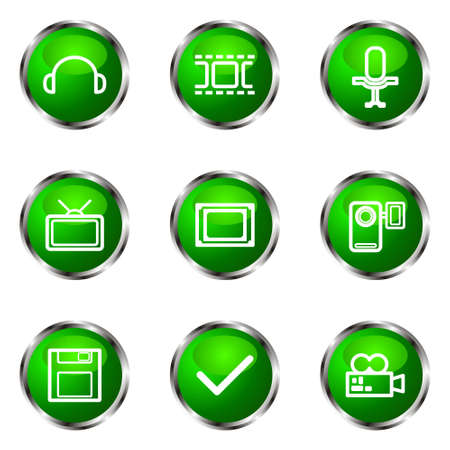 Set of 9 glossy web icons (set 30). Green color.