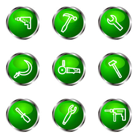 hammer and sickle: Set of 9 glossy web icons (set 31). Green color.
