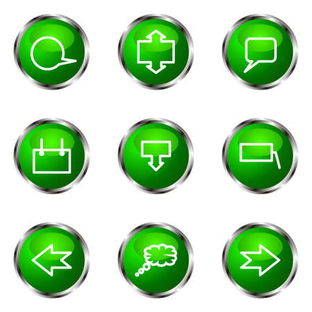 Set of 9 glossy web icons (set 34). Green color. Stock Vector - 16710715